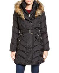 Rachel Roy - Faux Fur Trim Quilted Coat With Bib - Lyst