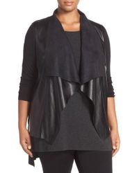 MICHAEL Michael Kors - Faux Leather & Knit Drape Front Sweater - Lyst