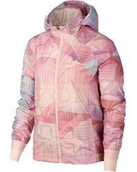 Nike Shield Flash Packable Water Resistant Running Jacket - Pink