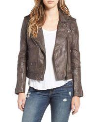 Blank - Genuine Leather Moto Jacket - Lyst
