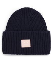 Acne Studios Pansy Face Patch Rib Wool Beanie - Blue