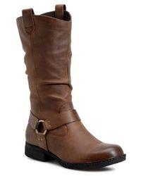 Børn Luna Harness Leather Boots - Brown