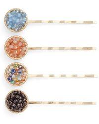 Cara - 4-pack Mini Bead Bobby Pins, Metallic - Lyst