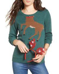 Love By Design - Reindeer Intarsia Sweater & Antler Headband - Lyst