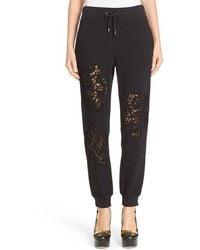 Moschino Lace Inset Fleece Pants - Black