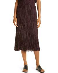 Eileen Fisher Crushed Silk Habutai Tiered Skirt - Brown