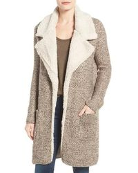 Dex - Faux Shearling Trim Notch Collar Jacket - Lyst