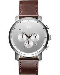 MVMT The Chrono Chronograph Leather Strap Watch - Metallic