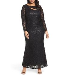 Marina - Sequin Lace Keyhole Gown - Lyst