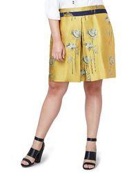 Rachel Roy Floral Print A-line Skirt - Yellow