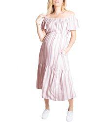 Ingrid & Isabel - Ingrid & Isabel Flutter Sleeve Maternity Midi Dress - Lyst