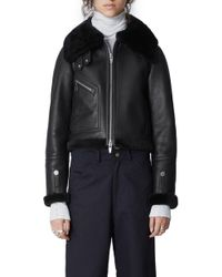 The Arrivals - Moya Mini Leather & Genuine Shearling Jacket - Lyst