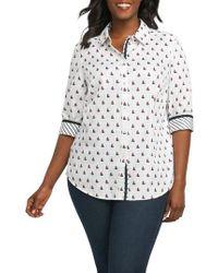 Foxcroft - Ava Sailboat Print Non Iron Cotton Shirt - Lyst
