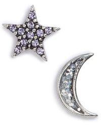 Marc By Marc Jacobs Marc Jacobs Moon & Star Mismatch Stud Earrings - Metallic