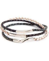 Caputo & Co. Leather Wrap Bracelet - Blue