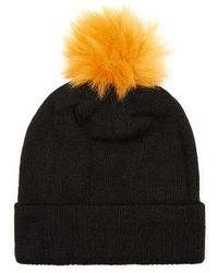 TOPMAN - Knit Beanie With Faux Fur Pompom - Lyst