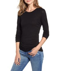 Stateside Side Ruched Long Sleeve Cotton Tee - Black
