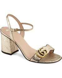 Gucci GG Metallic Leather Mid-heel Sandal