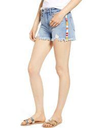 Tinsel - Stripe Cutoff Denim Shorts - Lyst