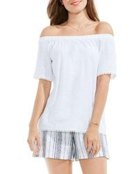 Two By Vince Camuto Bobble Trim Off The Shoulder Top - White