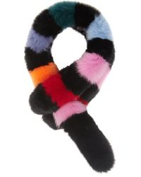 Charlotte Simone Popsicle Fox-fur Scarf - Multicolour