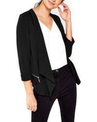 Wallis Drape Front Blazer - Black
