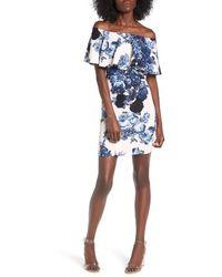 Soprano Floral Off The Shoulder Dress - Blue