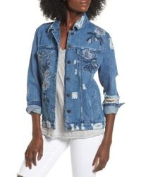 Love, Fire - Floral Embroidered Ripped Denim Jacket - Lyst