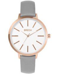 Breda - Joule Round Leather Strap Watch - Lyst