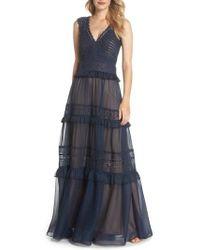 Tadashi Shoji - Tiered Lace & Chiffon Gown - Lyst