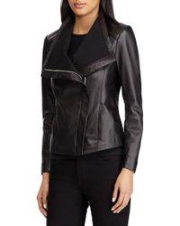 Lauren by Ralph Lauren - Drape Front Leather Moto Jacket - Lyst