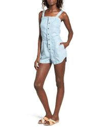 RVCA - Accomplice Chambray Romper - Lyst