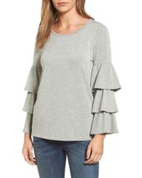Pleione Tiered Bell Sleeve Sweatshirt - Gray