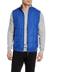 Ted Baker Stand Collar Mixed Media Vest - Blue