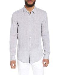 BOSS - Ronni Slim Fit Dobby Linen Sport Shirt - Lyst