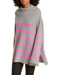Autumn Cashmere Breton Stripe Funnel Neck Cashmere Sweater - Pink