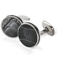 M-clip Alligator Cuff Links - Stainless Steel/ Black - Metallic