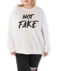 Slink Jeans Not Fake Oversize Sweatshirt - White