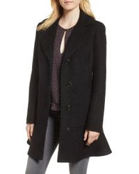 Kensie - Notch Lapel Peplum Coat - Lyst