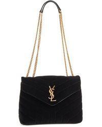 Saint Laurent - Small Loulou Matelasse Velour Shoulder Bag - - Lyst