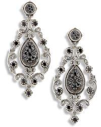 Konstantino Circe Black Spinel Chandelier Earrings - Metallic