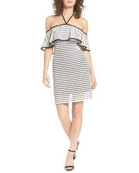 As U Wish - As You Wish Ruffle Popover Stripe Body-con Dress - Lyst