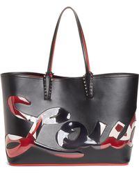 Christian Louboutin Cabata Paris Logo Calfskin Leather Tote - Black