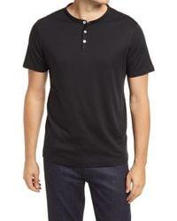 Robert Barakett Georgia Solid Henley Shirt - Black