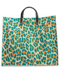 Clare V. Simple Animal Spot Suede Tote - Blue