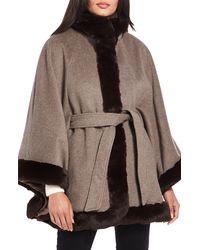 Ellen Tracy Wool Blend Cape Coat With Faux Fur Trim - Multicolor
