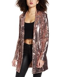 Endless Rose Sequin Double Breasted Blazer - Metallic