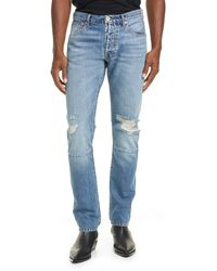 Unravel Project Vintage Chaos Ripped Button Fly Skinny Jeans - Blue