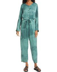 Raquel Allegra Long Sleeve Tie Dye Satin Jumpsuit - Blue