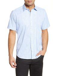 Classic Blue Bugatchi Porto Classic Fit Long Sleeve Button Up Sport Shirt